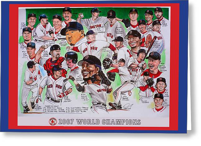 Red Sox Drawings Greeting Cards - 2007 World Series Champions Greeting Card by Dave Olsen