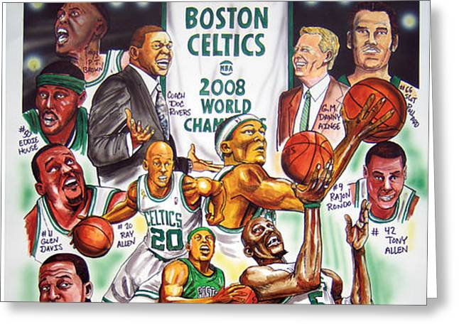 2008 Boston Celtics Team Poster Greeting Card by Dave Olsen