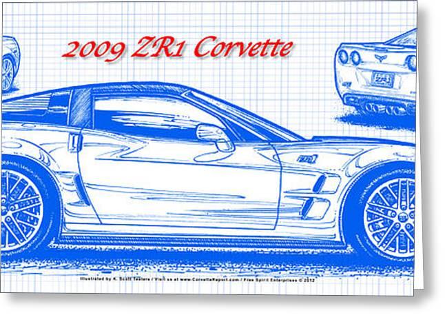 2009 Digital Art Greeting Cards - 2009 C6 ZR1 Corvette Blueprint Greeting Card by K Scott Teeters