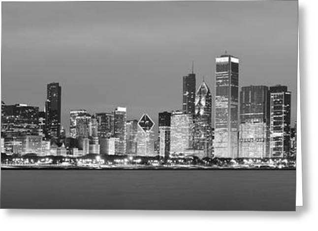 Donald Greeting Cards - 2010 Chicago Skyline Black and White Greeting Card by Donald Schwartz