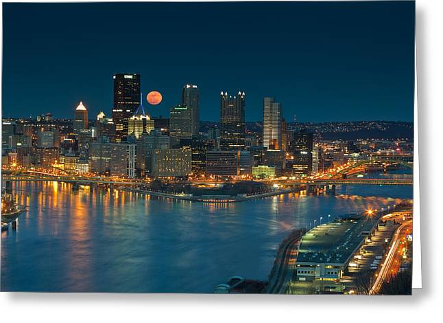 Rachel Carson Greeting Cards - 2011 Supermoon over Pittsburgh Greeting Card by Jennifer Grover