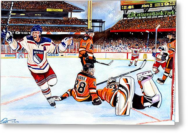Brad Richards Greeting Cards - 2012 Bridgestone-NHL Winter Classic Greeting Card by Dave Olsen