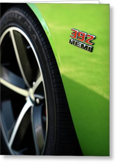 2009 Digital Art Greeting Cards - 2012 Dodge Challenger 392 HEMI - Green With Envy Greeting Card by Gordon Dean II
