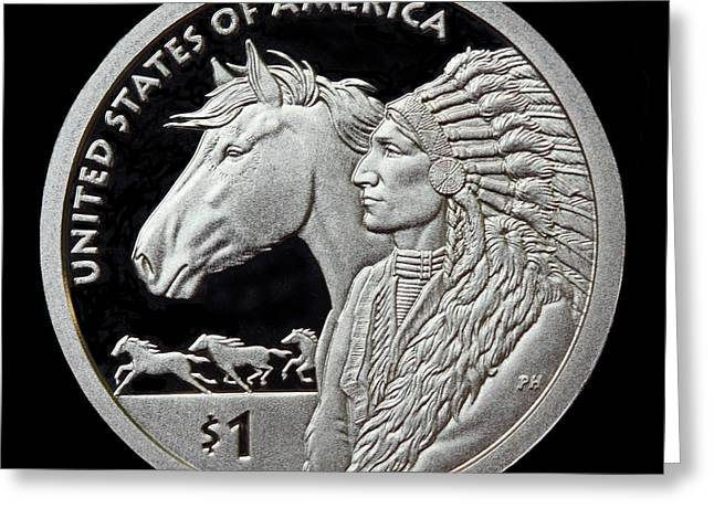 2012 Digital Art Greeting Cards - 2012 Native American One Dollar Coin Greeting Card by Randy Steele