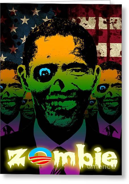 Robert Phelps Robert Phelps Art Greeting Cards - 2012 Obama Zombie Horde Greeting Card by Robert Phelps