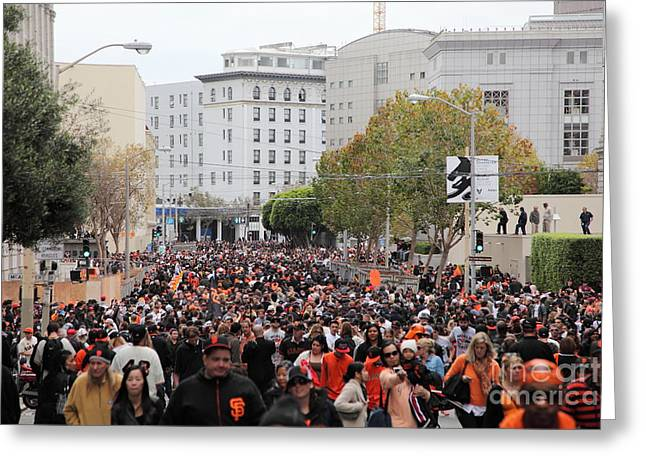 2012 San Francisco Giants World Series Champions Parade Crowd - DPP0001 Greeting Card by Wingsdomain Art and Photography