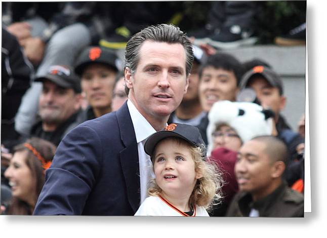 2012 San Francisco Giants World Series Champions Parade - Gavin Newsom - DPP0005 Greeting Card by Wingsdomain Art and Photography