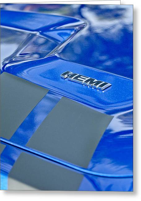 2013 Greeting Cards - 2013 Dodge RT Hemi Emblem Greeting Card by Jill Reger
