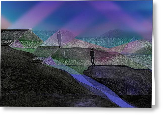 Dark Magic Greeting Cards - 208 - Men in landscape  Greeting Card by Irmgard Schoendorf Welch