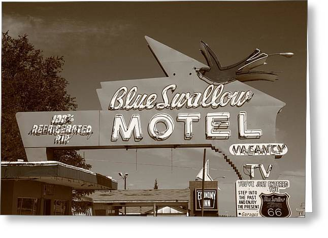 Route 66 Motel Sign Greeting Cards - Route 66 - Blue Swallow Motel Greeting Card by Frank Romeo