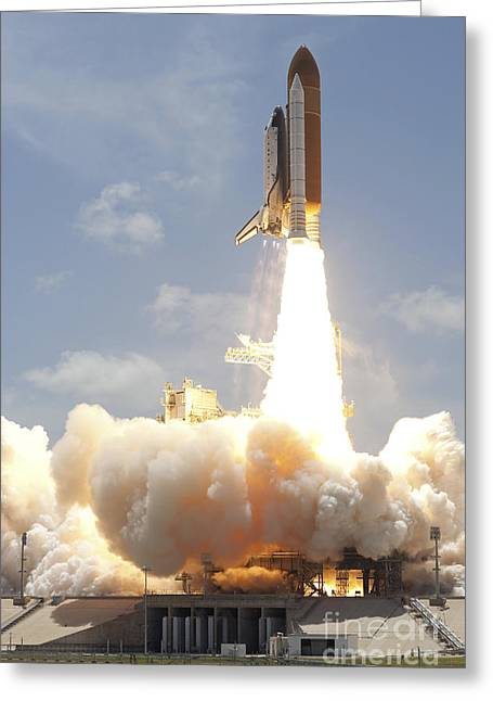 Atlantis Greeting Cards - Space Shuttle Atlantis Lifts Greeting Card by Stocktrek Images