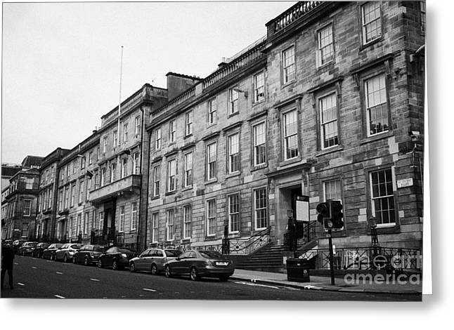 Listed Building Greeting Cards - 218 220 St Vincent Street 19th Century Terraced Townhouse House Glasgow Scotland Uk Greeting Card by Joe Fox