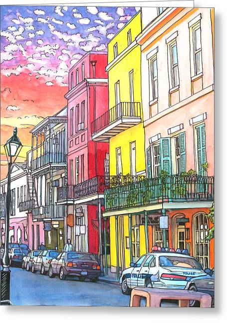 Cajun Drawings Greeting Cards - 22  Fiery Sunset with Red and Yellow Buildings Greeting Card by John Boles