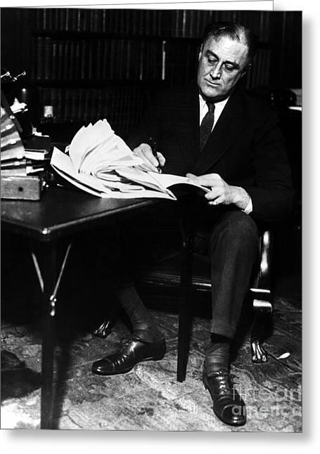 Franklin Roosevelt Greeting Cards - Franklin D. Roosevelt Greeting Card by Granger
