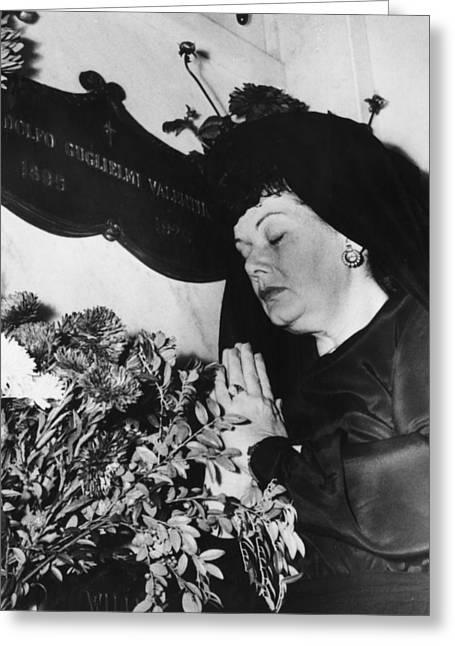 Black Woman Praying Greeting Cards - Rudolph Valentino Greeting Card by Granger