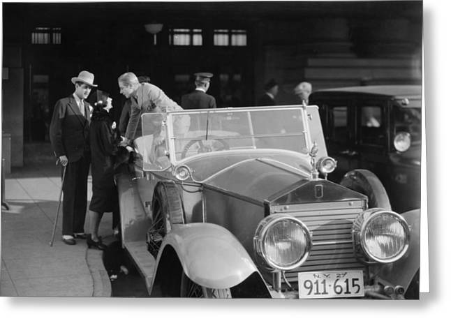 Spats Greeting Cards - Silent Film: Automobiles Greeting Card by Granger
