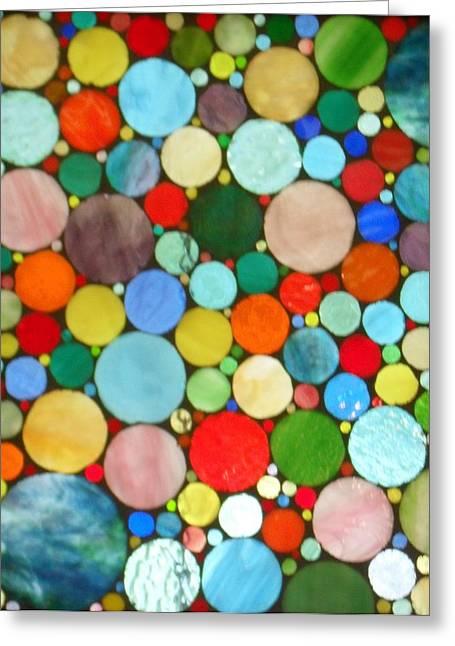 Circles Glass Art Greeting Cards - 220 Circles Greeting Card by Donna Moore