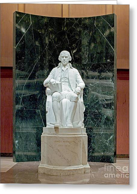 Statue Portrait Greeting Cards - James Madison (1751-1836) Greeting Card by Granger
