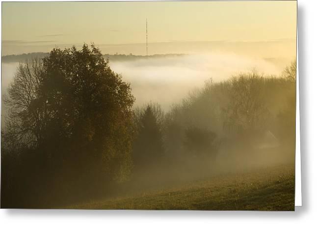 Oak Hill Greeting Cards - Misty Morning Greeting Card by Angel  Tarantella