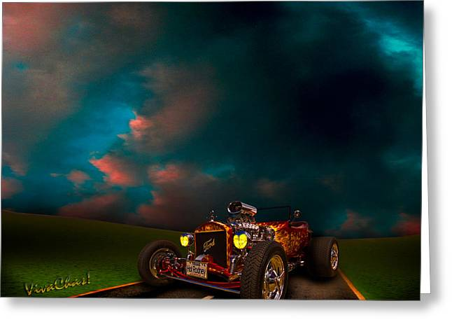 Ford Model T Car Greeting Cards - 23 Model-T Ford Roadster Hot Rod Greeting Card by Chas Sinklier