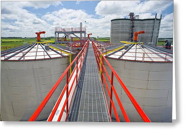 Corn Ethanol Processing Plant Greeting Card by David Nunuk