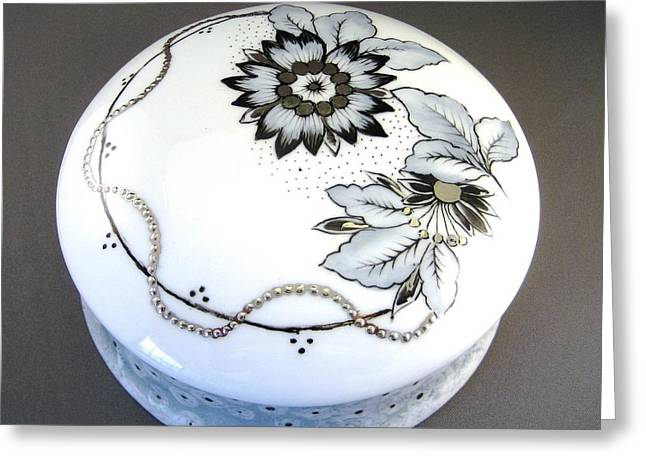 Round Ceramics Greeting Cards - 240 Box in black gray and platinum Greeting Card by Wilma Manhardt