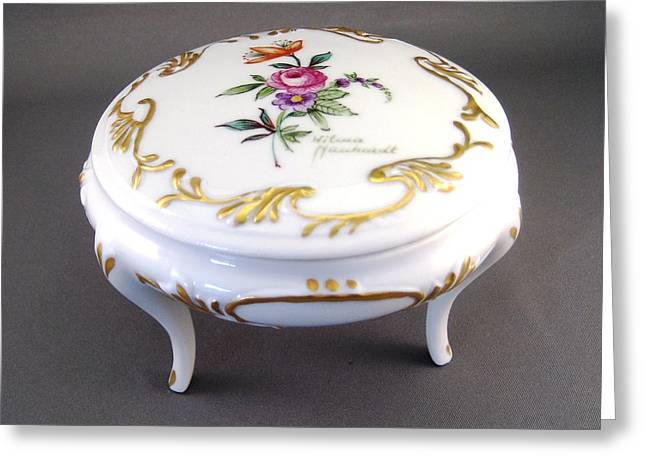 Style Ceramics Greeting Cards - 246 Footed box Dresden Style and gold Greeting Card by Wilma Manhardt