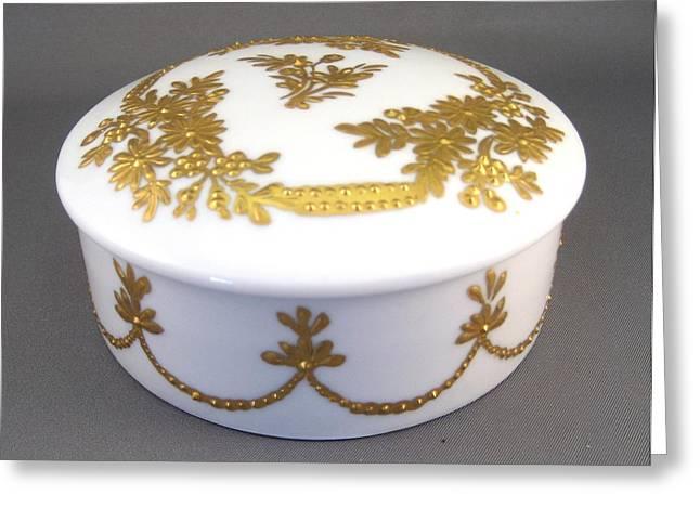 Elegant Ceramics Greeting Cards - 248 German Box Raised Paste Gold Greeting Card by Wilma Manhardt