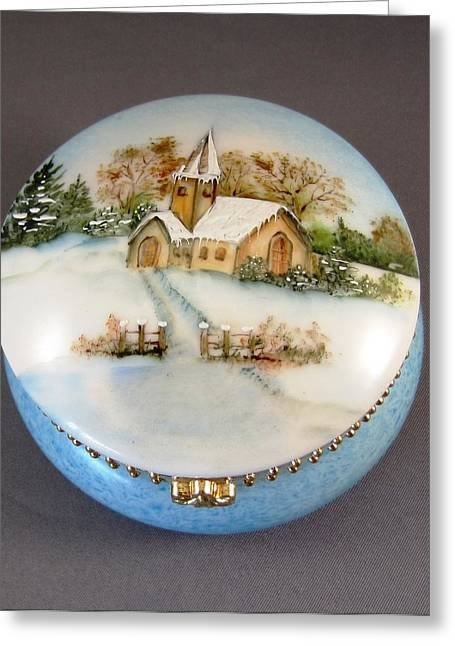 Snow Scenes Ceramics Greeting Cards - 252 Mirror-box with  winter scene Greeting Card by Wilma Manhardt