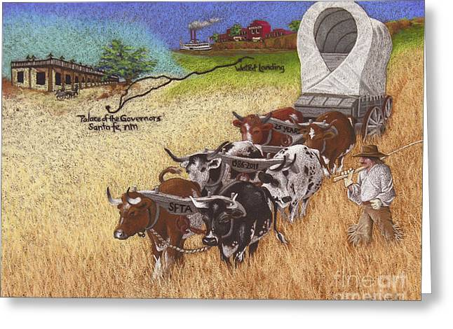Conestoga Pastels Greeting Cards - 25th Anniversary Santa Fe Trail Association Greeting Card by Tracy L Teeter
