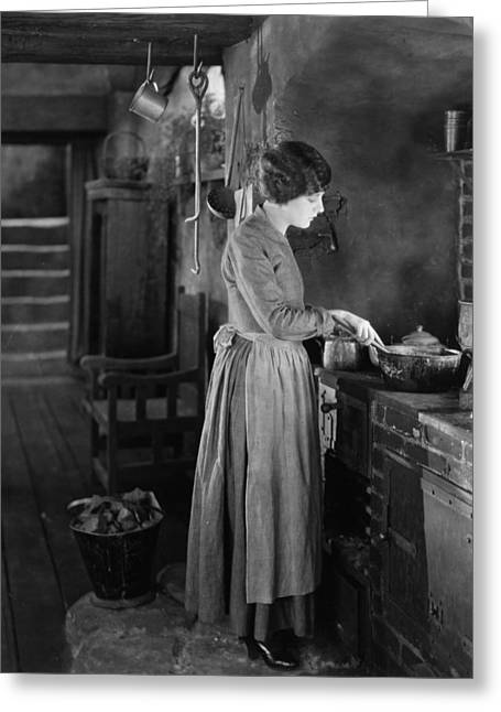 Apron Greeting Cards - Silent Film Still Greeting Card by Granger
