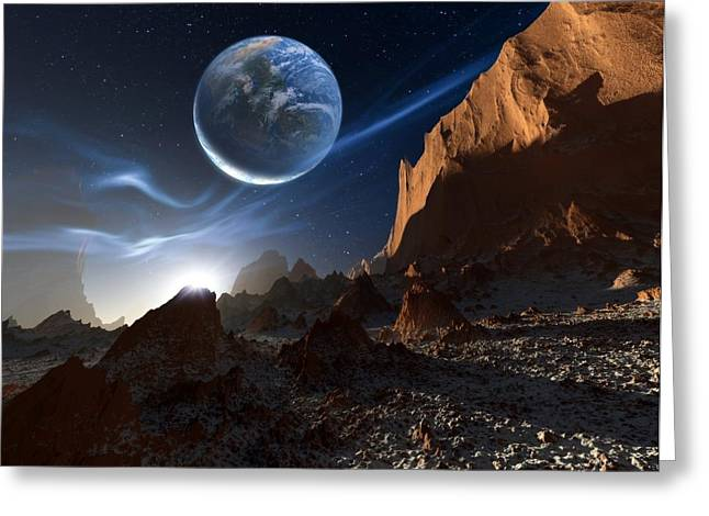 Alien Landscape, Artwork Greeting Card by Detlev Van Ravenswaay