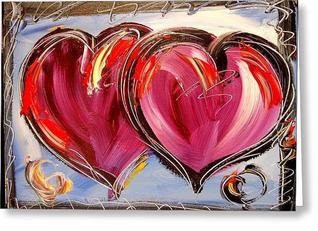 Amazing Sunset Paintings Greeting Cards - Hearts Greeting Card by Mark Kazav