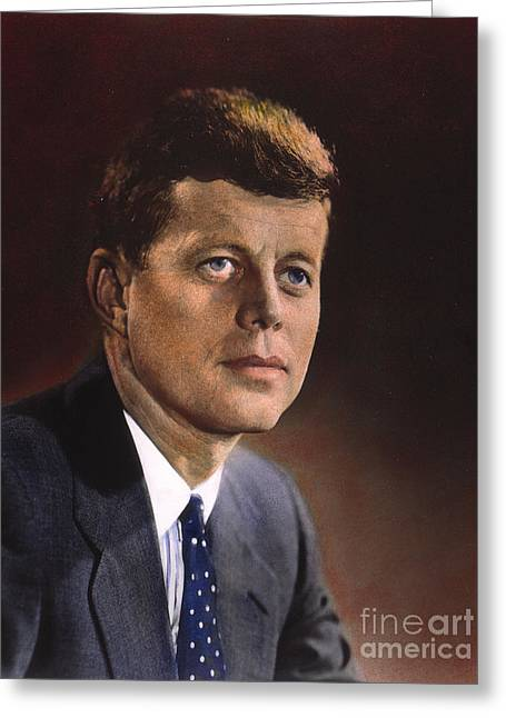 1960s Portraits Greeting Cards - John F. Kennedy (1917-1963) Greeting Card by Granger