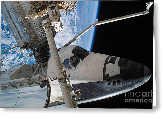 Destiny Greeting Cards - Space Shuttle Endeavour Greeting Card by Stocktrek Images