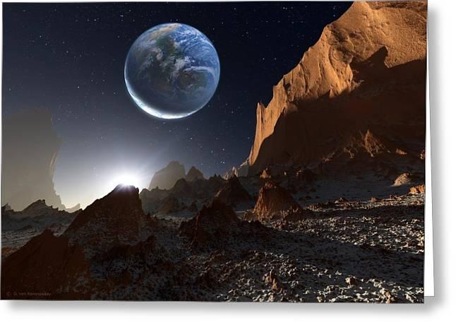 Alien Landscape, Artwork Greeting Card by Detlev Van Ravenswaay