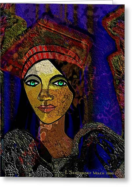 Forceful Greeting Cards - 299 - Woman with red hat   Greeting Card by Irmgard Schoendorf Welch