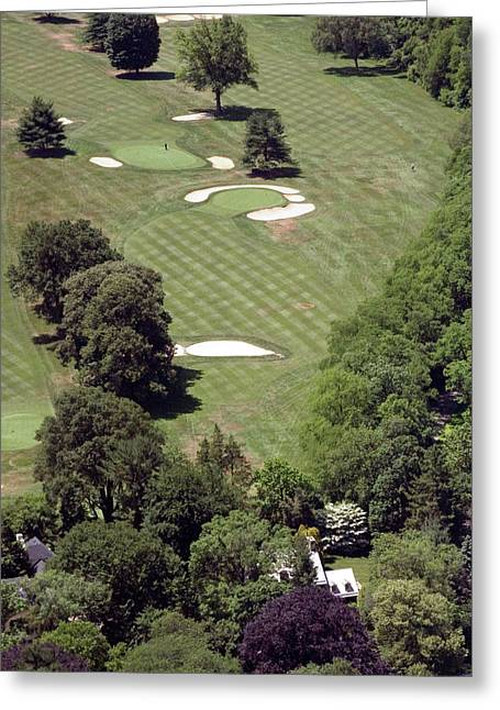 Cricket Aerial Greeting Cards - 2nd Hole Philadelphia Cricket Club St Martins Golf Course Greeting Card by Duncan Pearson