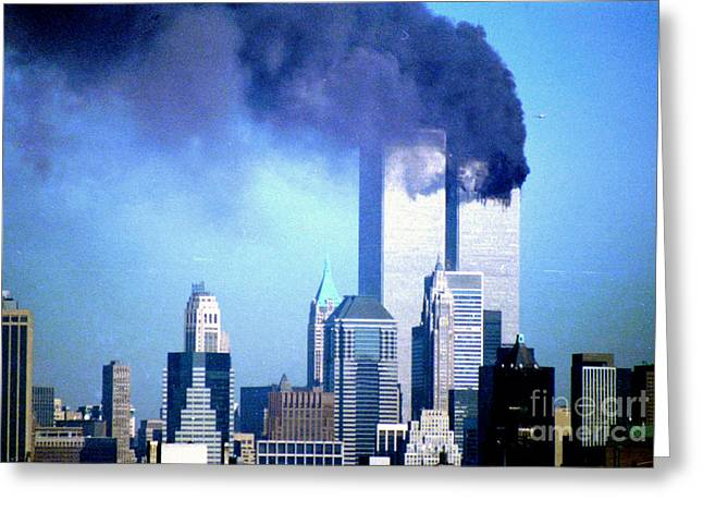 Wtc 11 Greeting Cards - 2nd Plane Approaching Greeting Card by Mark Gilman