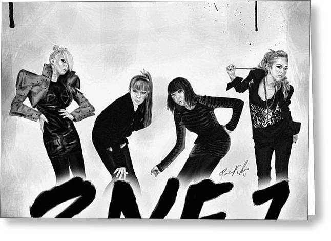 2NE1 Korean Pop Power Greeting Card by Kenal Louis