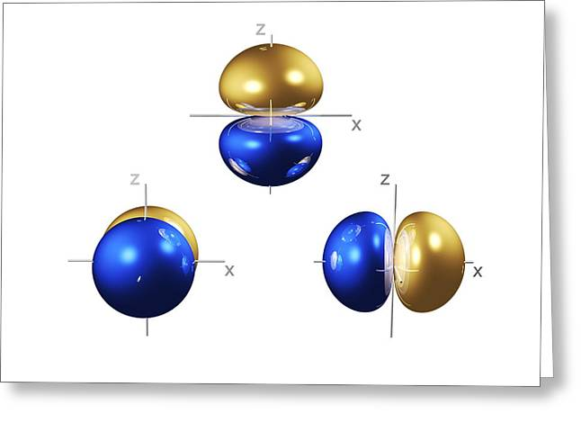Electron Orbital Greeting Cards - 2p Electron Orbitals Greeting Card by Dr Mark J. Winter
