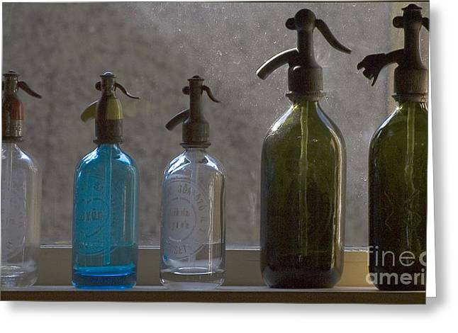 Wine-bottle Glass Greeting Cards -  Bottle of water Greeting Card by Odon Czintos