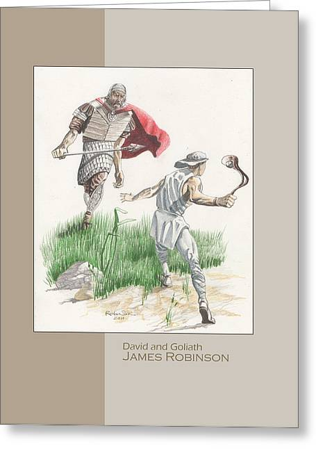 David Jewelry Greeting Cards - 124 David and Goliath Greeting Card by James Robinson