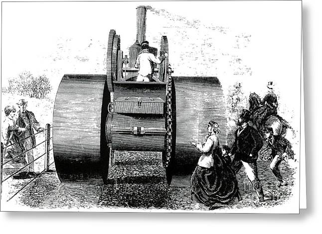 Road Roller Greeting Cards - 1866 Steam Road Roller Greeting Card by Science Source