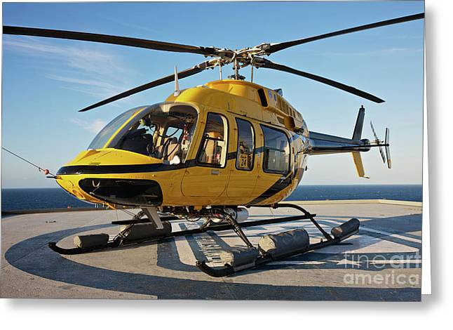 A Bell 407 Utility Helicopter Greeting Card by Terry Moore