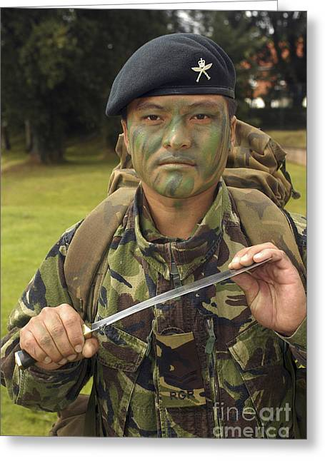 Brigade Greeting Cards - A British Army Gurkha Greeting Card by Andrew Chittock