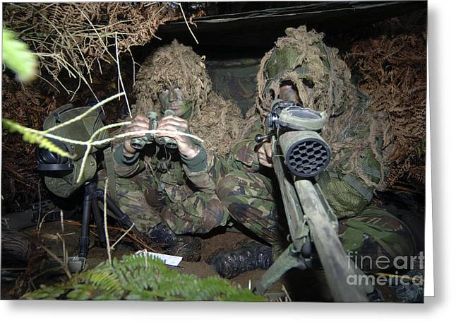 Marksman Greeting Cards - A British Army Sniper Team Dressed Greeting Card by Andrew Chittock