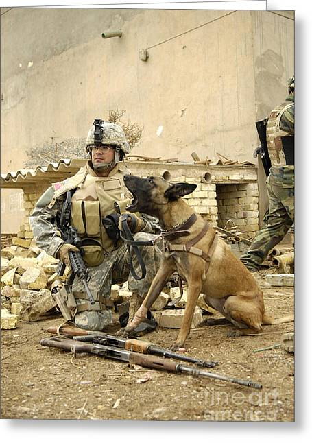 Guard Dog Greeting Cards - A Dog Handler And His Military Working Greeting Card by Stocktrek Images