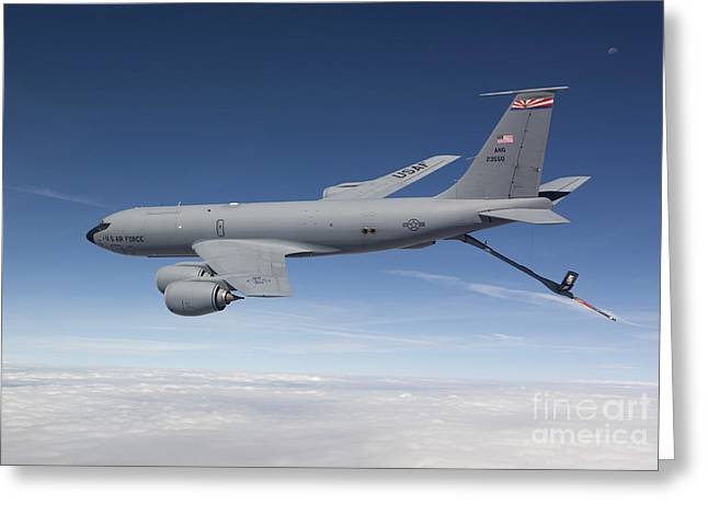 Refueling Greeting Cards - A Kc-135r Flies A Training Mission Greeting Card by HIGH-G Productions