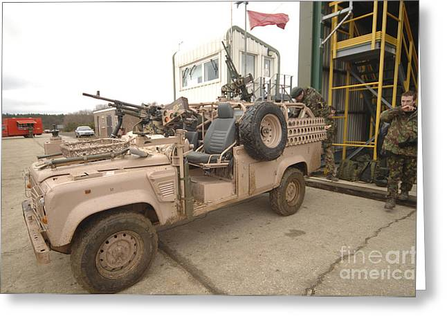 A Pink Panther Land Rover Greeting Card by Andrew Chittock